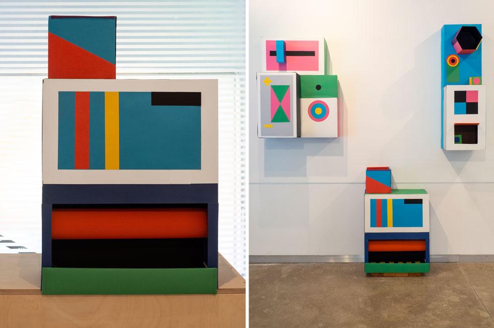 אלון ברייאר יצא מאזור הנוחות שלו כמאייר, ויצר מקרטונים ודפים צבעוניים מודלים של מכונות, שישמרו זכרונות ביתיים, בגרסה מושטחת (צילום: נגה שחם פורת)
