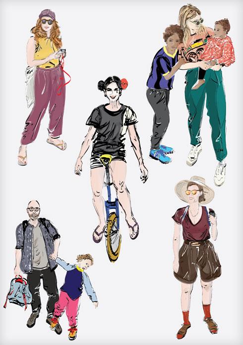 """""""הלבוש מעניין אותי באופן שבו אנחנו בוחרים לבטא את עצמנו, במודע או שלא במודע, באמצעות לבוש, שפת גוף, מחוות קטנות ואיך כל הפרטים הללו מתכנסים לכדי מכלול"""". פרויקט """"העירוניים"""" של אילנית שמיע (איור: אילנית שמיע)"""