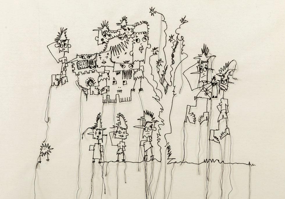 בתערוכה Out of Line: איורים של מעצבת האופנה ג'רי שי, שעליהם רקמה הרוקמת הבדואית פאטמה סלים מהיישוב לקיה בנגב (איור: ג'רי שי שריג, צילום: אבי ולדמן)