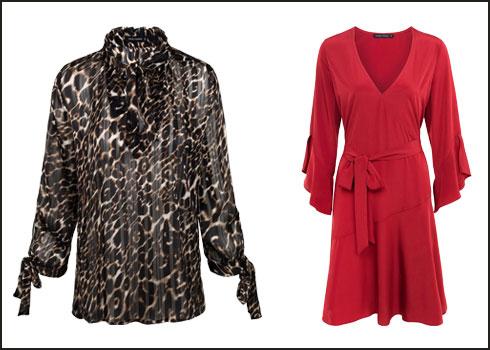 שמלה אדומה, 529 שקל; חולצה מנומרת, 399 שקל  (צילום: טל טרי)