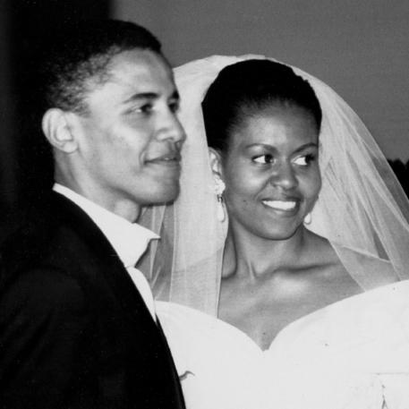 בני הזוג אובמה בחתונתם