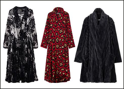מעיל קטיפה שחור, 890 שקל; שמלה פרחונית, 998 שקל; שמלת תחרה וקטיפה שחורה, 980 שקל (צילום: עדי גלעד)