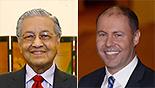 שר האוצר אוסטרליה ג'וש פריידנברג ראש הממשלה מלזיה מאהאטיר מוחמד (צילום: AP, gettyimages)