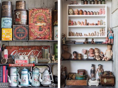 עוד ועוד פריטים, מסודרים על פי סוגים. ''האובייקטים הפכו לטקסטורה בתוך הגריד של הקיר'' (צילום: עמית גרון)
