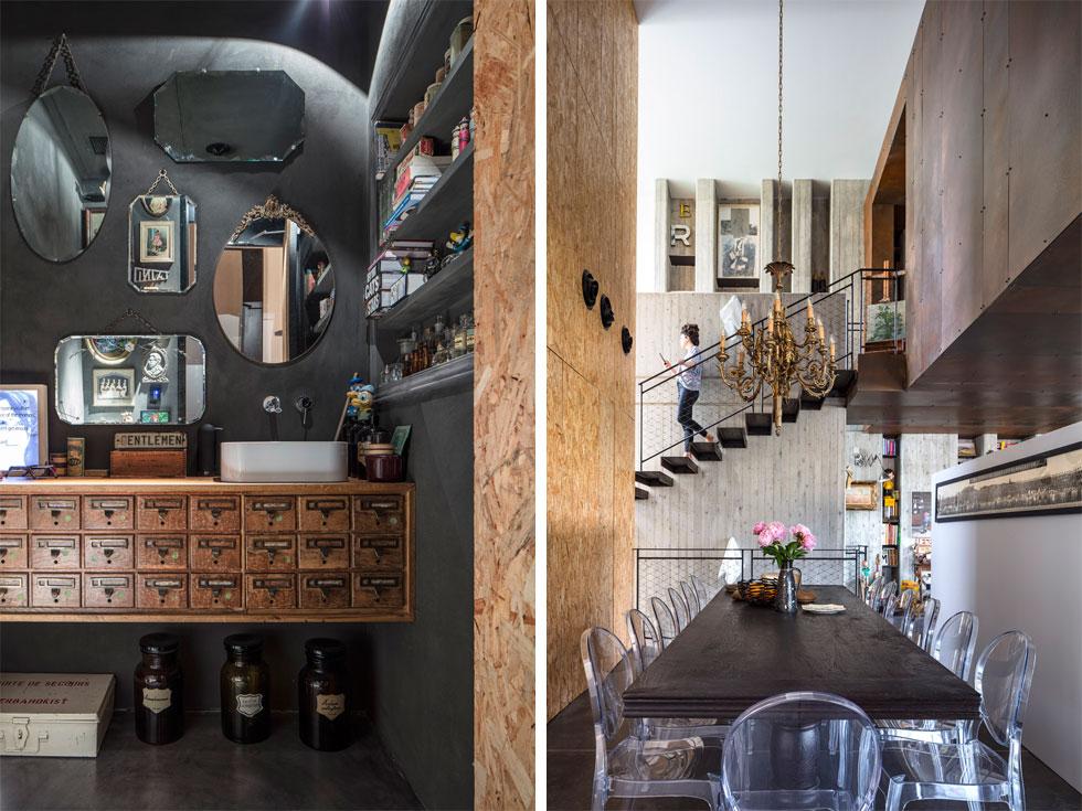 פינת האוכל (מימין) ממוקמת בחלל צר אך גבוה בגב המטבח. מעברו השני של קיר ה-OSB מוקמו שירותי האורחים (בתמונה משמאל) וחדר כביסה (צילום: עמית גרון)