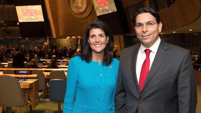 Haley with Israeli Amb to the UN Dannon (Photo: Shahar Azran)