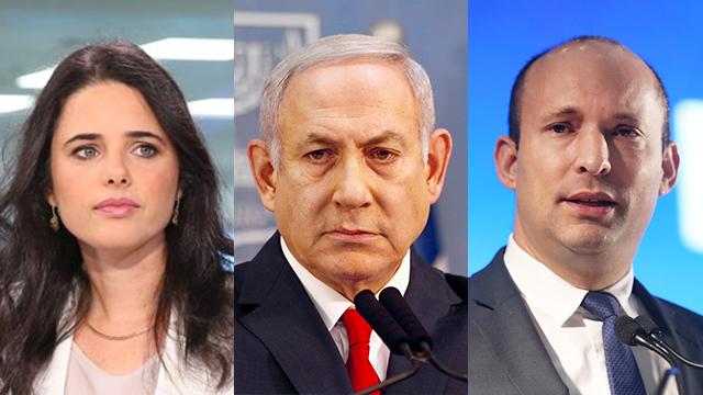 Shaked, Netanyahu, Bennett (Photo: AP,Yaron Brener, Alex Kolomoisky)