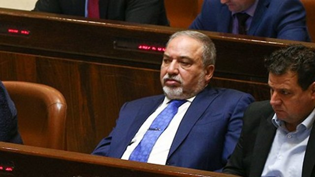 Lieberman and Odeh on the opposition benches (Photo: Ohad Zwigenberg)