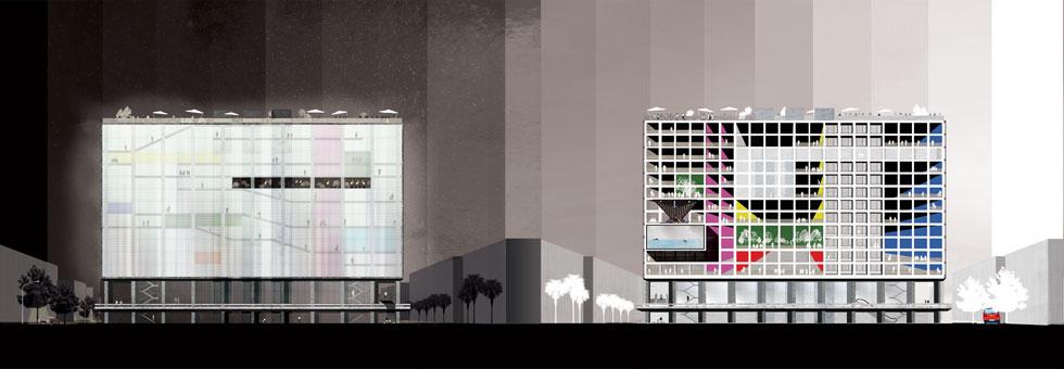 בניין העירייה הגדול יוסב, לפי ההצעה, לרב שימושי: ממרחבי עבודה משותפים, דרך מרכז לתנועות נוער, בתי ספר למחול, תיאטרון ועוד (הדמיה: הילה רחימה)