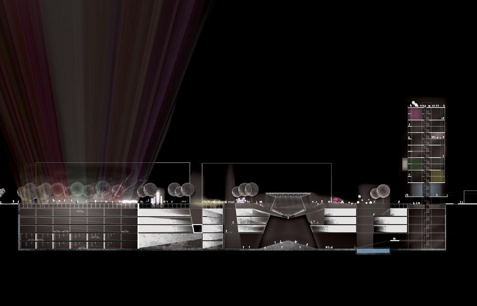 חתך של הפרויקט הזוכה בפרס עזריאלי ל-2018. רחימה מציעה לחפור מתחת לכיכר רבין ולהקים במרכזה מבנה שקוף, שישמש כאולם מועצת העיר (הדמיה: הילה רחימה)