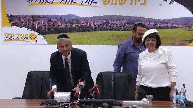 עליזה בלוך במסיבת עיתונאים לקראת כניסתה לתפקיד כראשת עיריית בית שמש (צילום: גיל יוחנן)