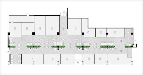 תוכנית המרקט: דוכנים משני צדיה של שדרת ישיבה מרכזית. הכל פונה פנימה (תוכנית: קרן אופנר תכנון ועיצוב פנים)