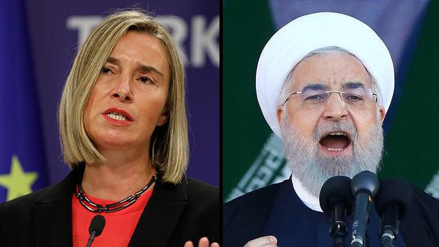 נשיא איראן חסן רוחאני שרת החוץ של האיחוד האירופי פדריקה מוגריני חצי חצי (צילום: AP )
