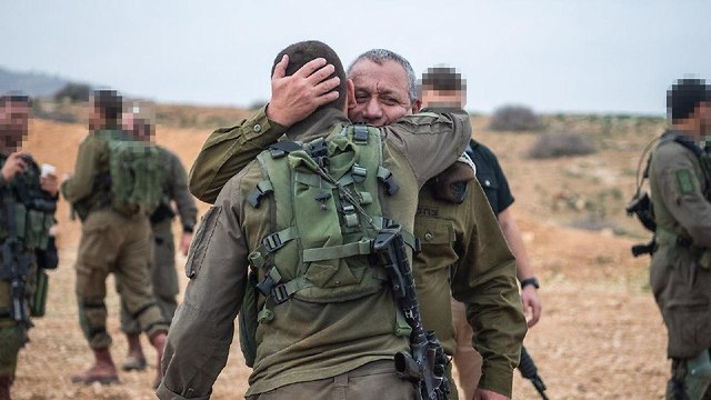 IDF chief Eisenkot with his son, Staff Sgt. G., who serves in Maglan (Photo: IDF Spokesman's Office)