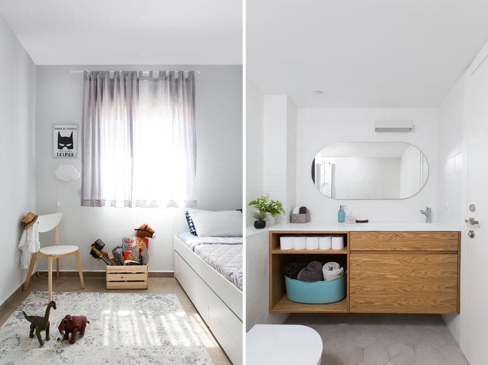בחדר הרחצה (מימין) הוחלפו האסלה ושידת הכיור, הרצפה ואריחי הקיר. חדרי הילדים (משמאל) עוצבו באותה הצורה, בעיקר עם רהיטי איקאה (צילום: שירן כרמל)