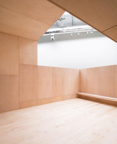 אחד מחדרי החזרות. אור טבעי נכנס דרך פתחים שנפערו בגג המבנה (צילום: McCarragher Gilbert)