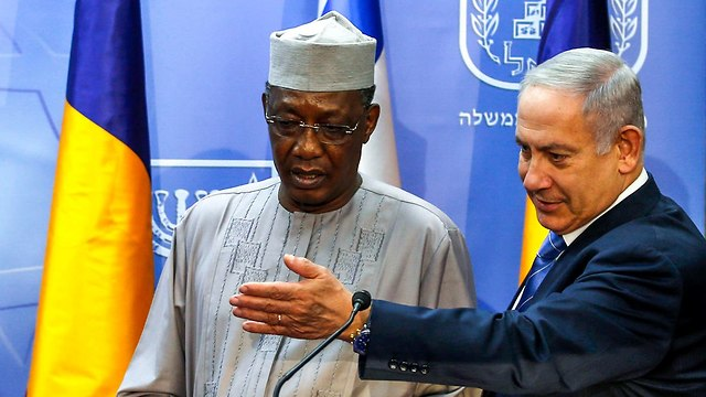 Chadian President Idriss Deby and Prime Minister Netanyahu (Photo: AFP)