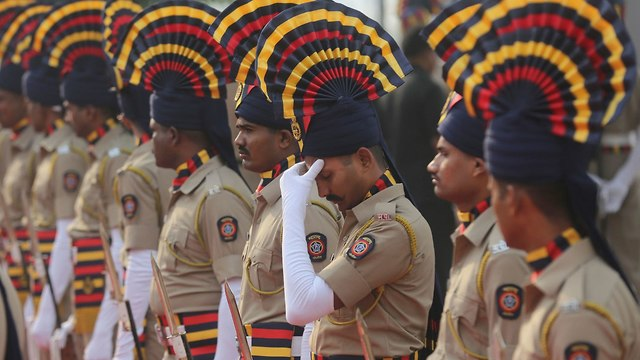 The Mumbai Police ceremony commemorating the attack. (Photo: AP)