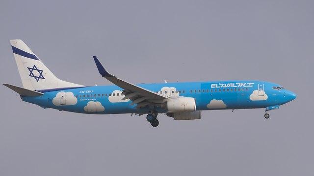מטוס באוינג 737 של אל על תחת המותג UP (צילום: דני שדה)