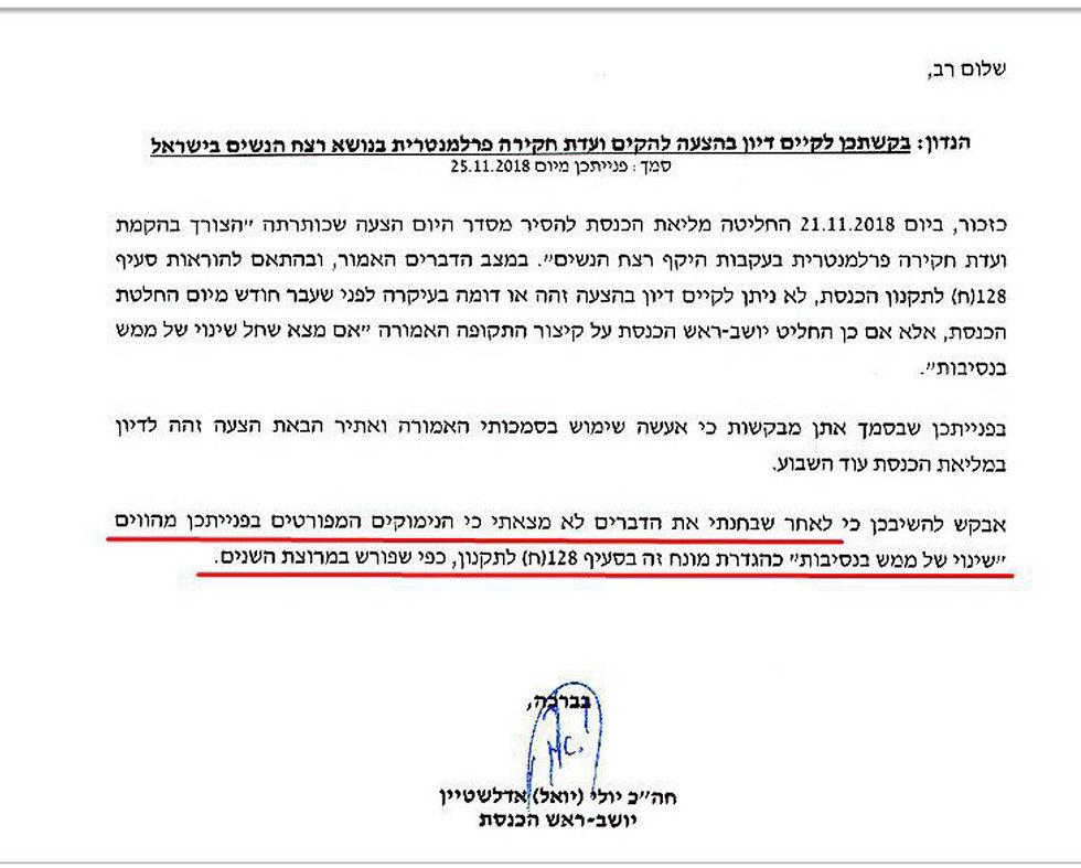 בקשה לקיים דיון בהצעה להקים ועדת חקירה פרלמנטרית בנושא רצח נשים בישראל של  יו