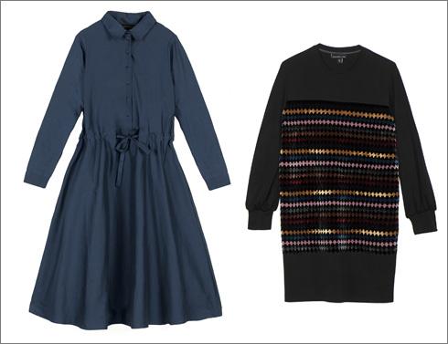 שמלה בעיטור סרטי קטיפה, 1,250 שקל; שמלה כחולה, 790 שקל  (צילום: איליה מלינקוב)