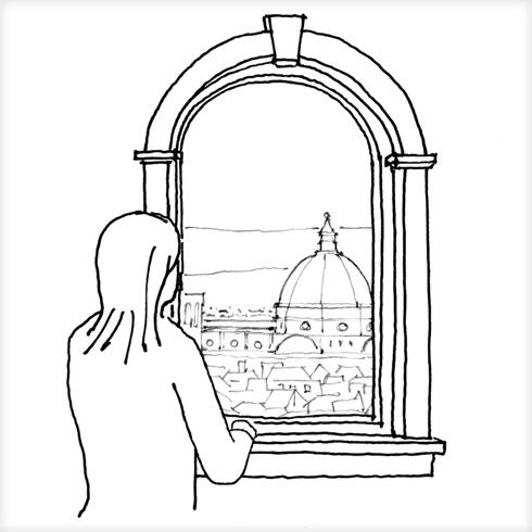 מסגרו את הנוף, אל תסתפקו בחשיפתו בלבד. גם אם נדמה שקיר חלונות הוא הדרך להתמודד עם נוף דרמטי, חוויות עשירות יותר נובעות לעתים קרובות מבחירה, ממסגור או ממיסוך זהירים של הנוף, או אפילו מהסתרתו (איור: מתיו פרדריק)