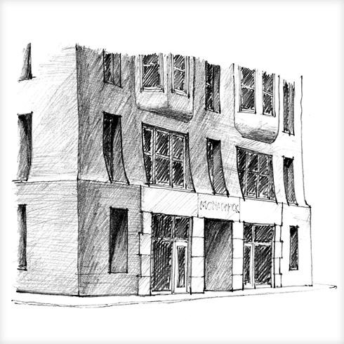 בבניינים מסורתיים, הקירות החיצוניים עבים משום שהם תומכים במשקל הבניין ומופעלים עליהם עומסים גדולים מכיוון הרצפות, הגג והקירות שמעליהם, שאותם הם מעבירים לקרקע; בבניים מודרניים, הקירות החיצוניים דקים, והעומסים המבניים נמתכים בשלד עמודים וקורות מפלדה או בטון (איור: מתיו פרדריק)