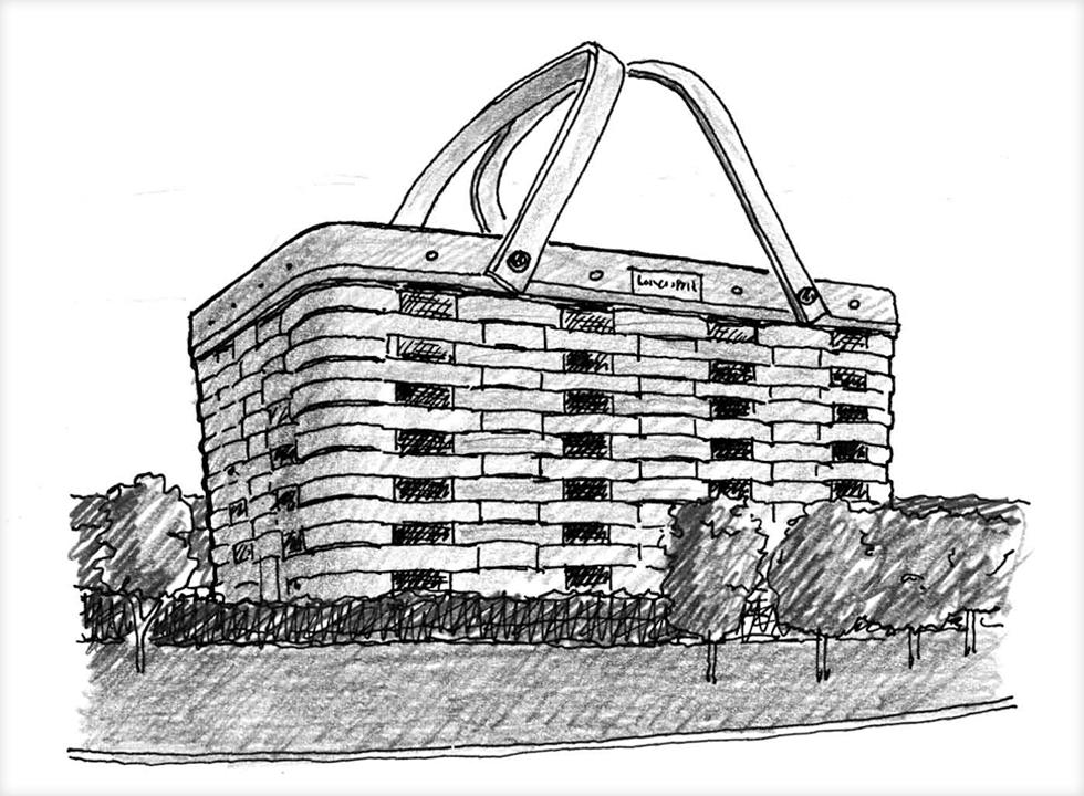 מה זה ''ברווז אדריכלי''? בניין שמעביר מילולית את משמעותו. למשל, בניין ''הסל'' של חברת הסלים לונגארברגר בעיר ניוארק, אוהיו (איור: מתיו פרדריק)