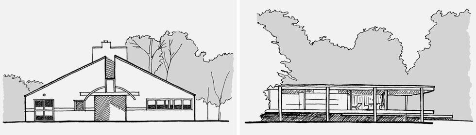 מימין: הממרה ''פחות הוא יותר'' (Less is More) היא של המודרניסט לודוויג מיס ון דר רוהה, שתכנן את בית פארנסוורת' באילינוי; משמאל: התגובה המזלזלת ''פחות זה משעמם'' (Less is a Bore) הגיעה מהפוסט-מודרניסט רוברט ונטורי, שתכנן לאמו את הבית בפילדלפיה (איור: מתיו פרדריק)