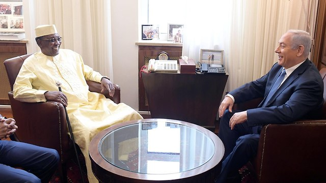 Chadian President Idriss Déby at the Prime Minister's Office in Jerusalem  (Photo: GPO)