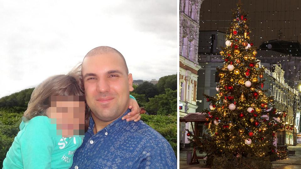 Максим Ильюшенков с дочерью, елка в Европе. Фото из личного архива и shutterstock