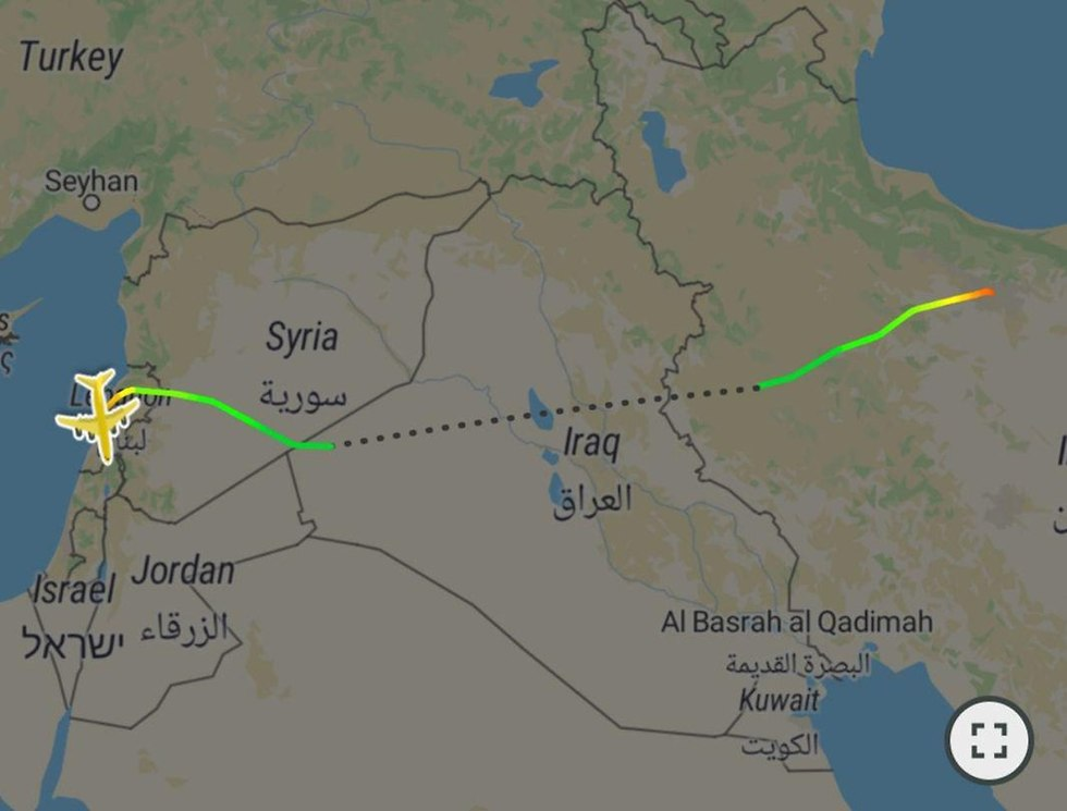 The route of Fars Air Qeshm's Boeing 747 (Photo: FlightRadar24)