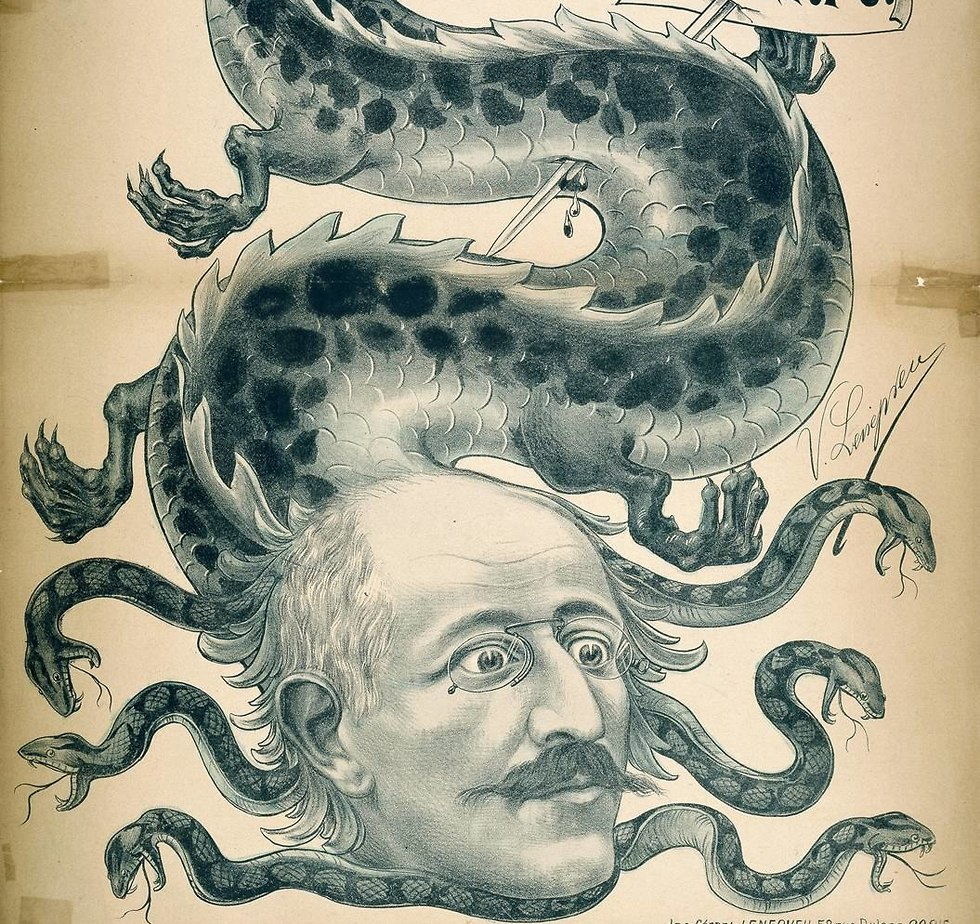 An anti-Semitic caricature presenting Dreyfus as a traitor.