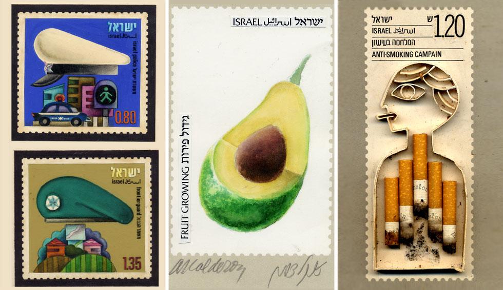 בסדרות הבולים שעיצב בא לידי ביטוי מגוון הסגנונות שבהם התנסה, מהסטודיו הקטן שלו בתל אביב (באדיבות טל קלדרון)