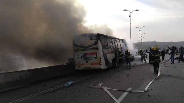 תאונת דרכים אוטובוס ורכב פרטי כביש 5  סמוך לברקן (צילום: tps)