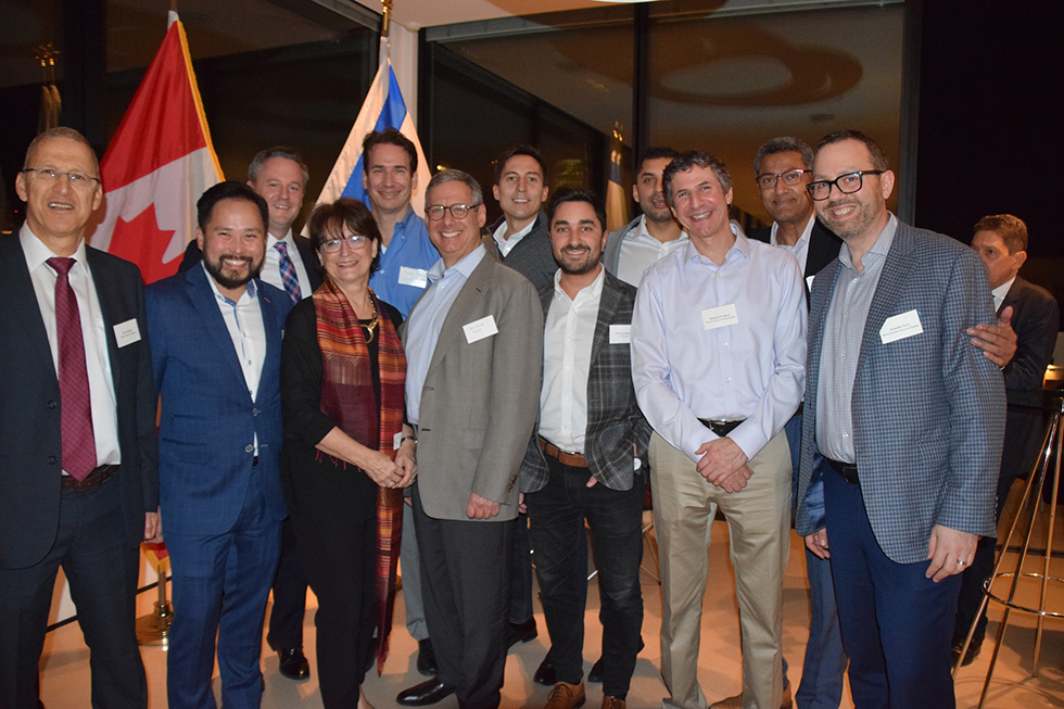 רכילות עסקית דברה ליונס, משלחת ה- TSX, רוברט פיטרמן, יוסי בוקר (צילום: הילה גליק, שגרירות קנדה)