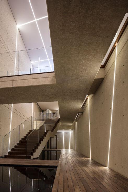 גשרים וגרמי מדרגות חוצים את האולם המקשר בין הדירות (צילום: עמית גרון)