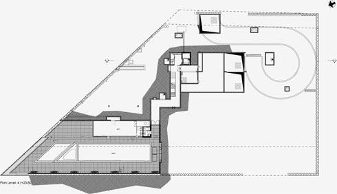 תוכנית המפלס התחתון, שבו חדר כושר ובריכה (תוכנית: גוטסמן שמלצמן אדריכלות)