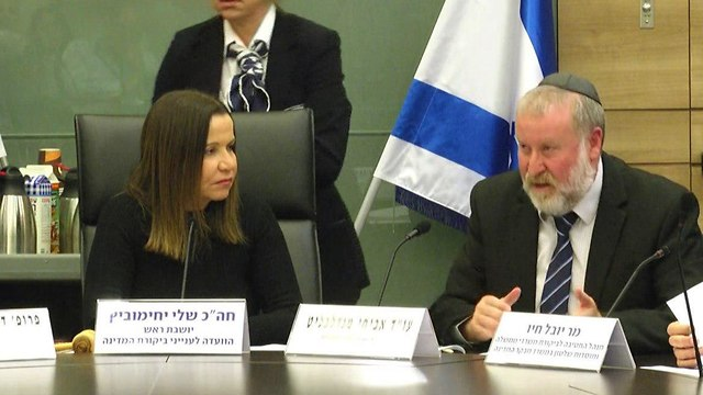 AG Avichai Mandelblit and Zionist Union MK Shelly Yachimovich at a Knesset committee meeting (Photo: Gil Yohanan)