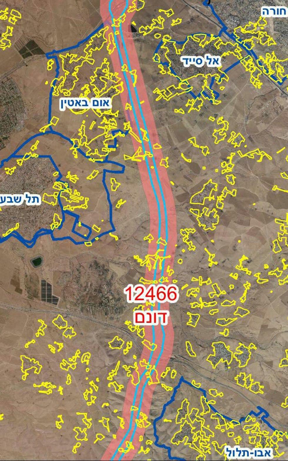 מפה כביש 6 (צילום: הרשות להסדרת התיישבות הבדואים)