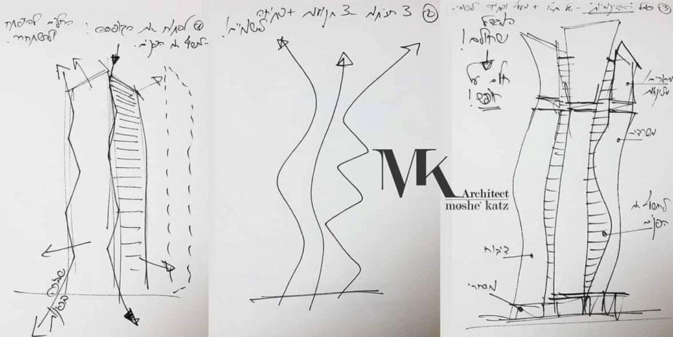 משה כץ משרבט סקיצה, ומדגים כיצד תכנן את עיצובו של המגדל הגבוה בישראל. הפרשה מציפה סוגייה כאובה בענף האדריכלות: למי מגיע קרדיט? (סקיצה: משה כץ)