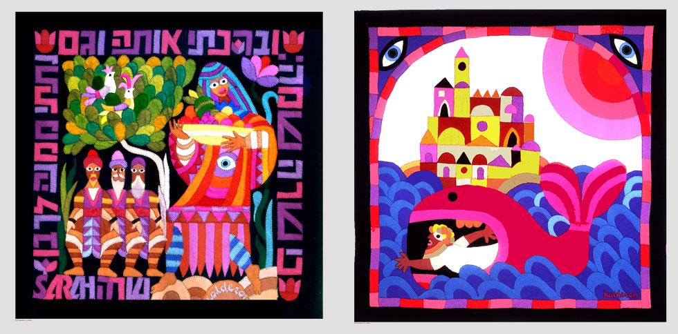 את נטייתו האמנותית והתקרבותו למסורת היהודית מימש בסדרה של שטיחי קיר, שעיצב במשטחי הצבע שאהב, ויצר עם אשתו (באדיבות טל קלדרון)