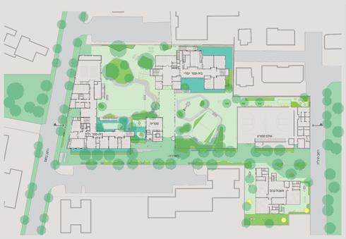 """תוכנית המתחם החינוכי. """"חורב"""" הוא המבנה שצורתו ר' משמאל (תכנית: מורן פלמוני אדריכלים יפתח וקס אדריכלים)"""