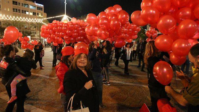 מחאה אלימות נגד נשים בכיכר רבין תל אביב (צילום: מוטי קמחי)