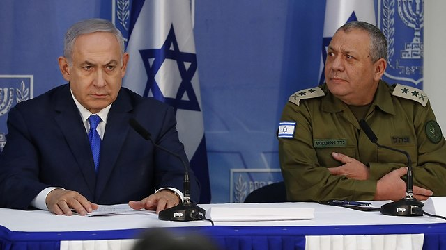 Prime Minister Netanyahu and IDF chief Eisenkot (Photo: AFP)