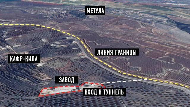 Схема расположения завода и входа в туннель  (Фото: пресс-служба ЦАХАЛа)