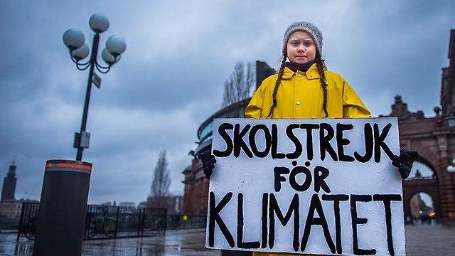 גרטה טונברג במחאה בשבדיה (צילום: EPA)