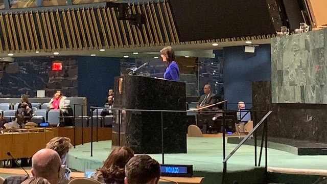Outgoing US Amb. to the UN Nikki Haley speaking before the GA