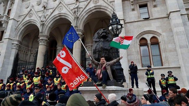 הונגריה מחאה חוק העבדים  (צילום: רויטרס)