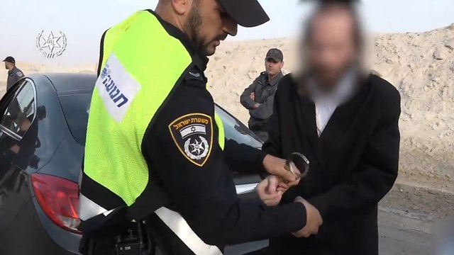 Задержание водителя раввина Берланда. Фото: пресс-служба полиции